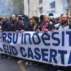 La protesta degli operai di Carinaro