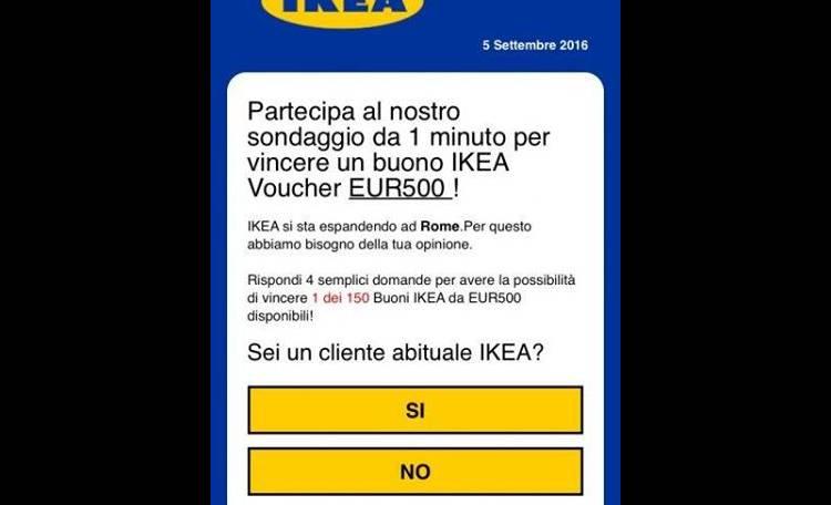 vinci buono ikea da 500 euro allarme truffa con whatsapp roma. Black Bedroom Furniture Sets. Home Design Ideas