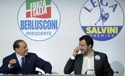 Berlusconi Salvini giorgetti cemtrodestra