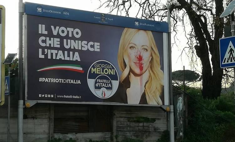 POLITICA: Fratelli d'Italia, imbrattati dall'estrema sinistra i manifesti di Giorgia Meloni